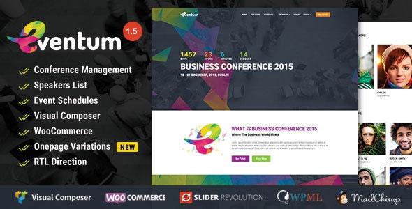 Eventum v1.5 - Conference & Event WordPress Theme