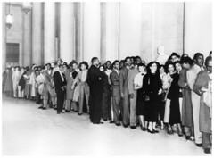 Spectators line up at Supreme Court for school cases: 1953