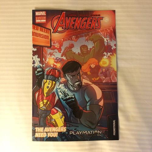 Playmationの制作ストーリーがなんとマーベルコミックとして配布されてる。トニー・スタークとブルース・バナーが作成し、ウルトロン退治のためにアベンジャーズと共闘する、というストーリー。