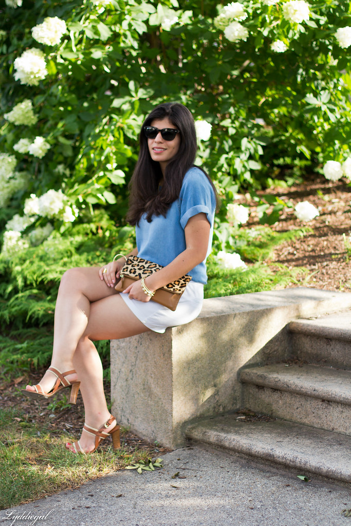 chambray tee shirt, white shorts, leopard clutch-3.jpg