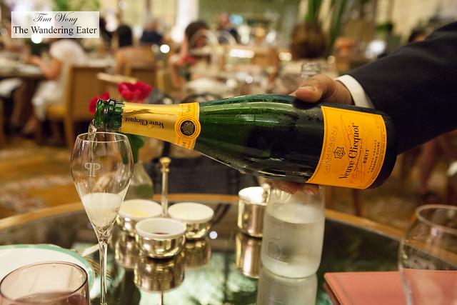Pouring Veuve Cliquot Brut Champagne