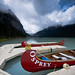 Canoes at Lake Louise by Robie..