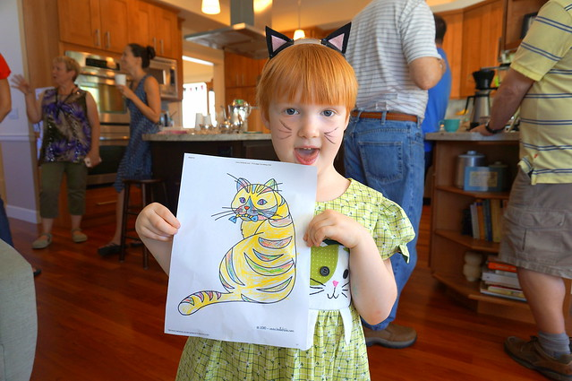 R and her cat drawing