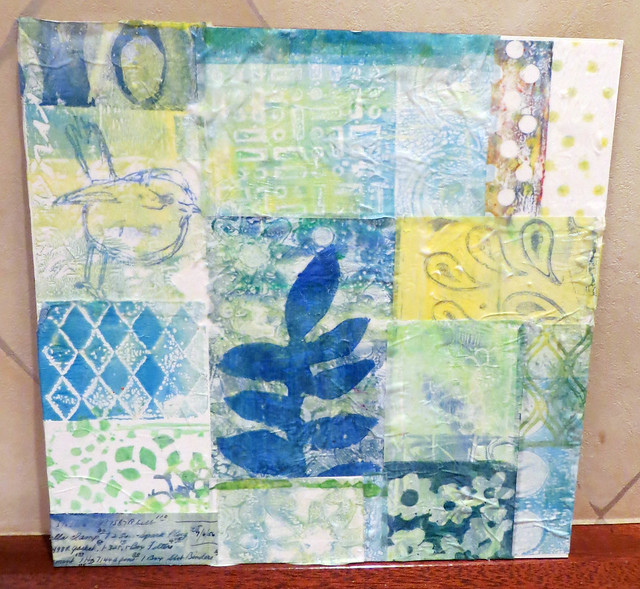 Student work ~ abstract collage using the Gelli Plate