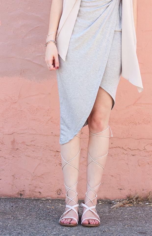 Lace Up Sandals, Grey Asymmetrical Dress