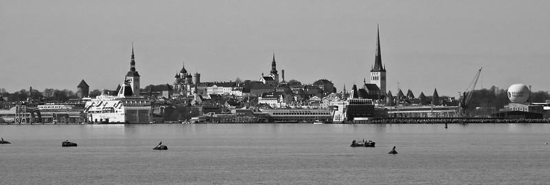 City By The Sea in Black and White