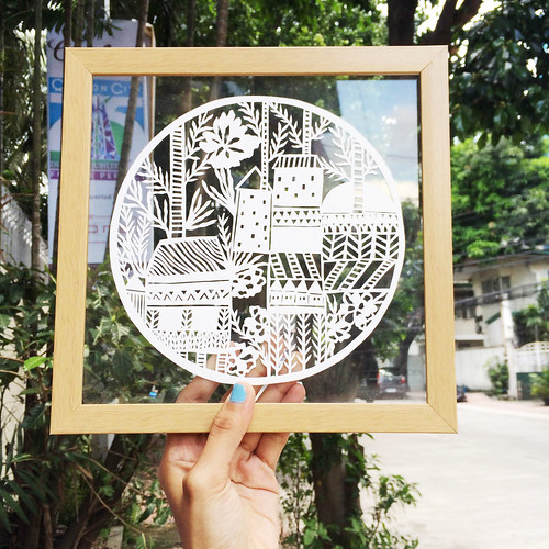 Papercut Glass Art