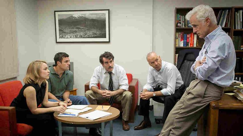 Rachel McAdams, Mark Ruffalo, Brian d'Arcy James, Michael Keaton and John Slattery mount their editorial attack on the Catholic Church in SPOTLIGHT.