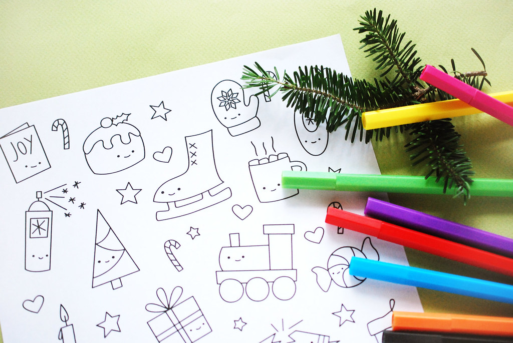 printable kawaii christmas coloring pages advent tinies color pages