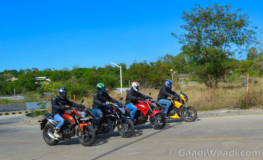 Honda CB Hornet vs Suzuki Gixxer vs Yamaha FZ vs TVS Apache (2)