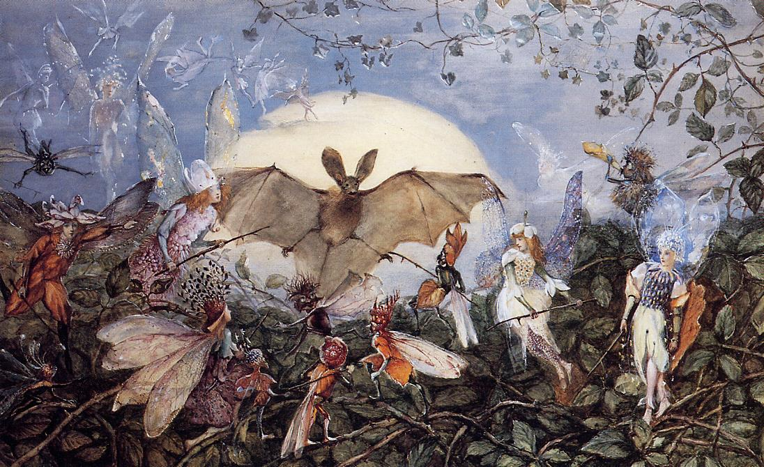 Fairy Hordes Attacking a Bat by John Anster Christian Fitzgerald (1819 - 1906)