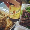 Someone wanted some #Pinoy libations & #Filipino #food #gotRice :rice: #sarap #yum :yum: first time drinking  #SanMiguel #beer :beer::sunglasses: #MadeinthePhilippines
