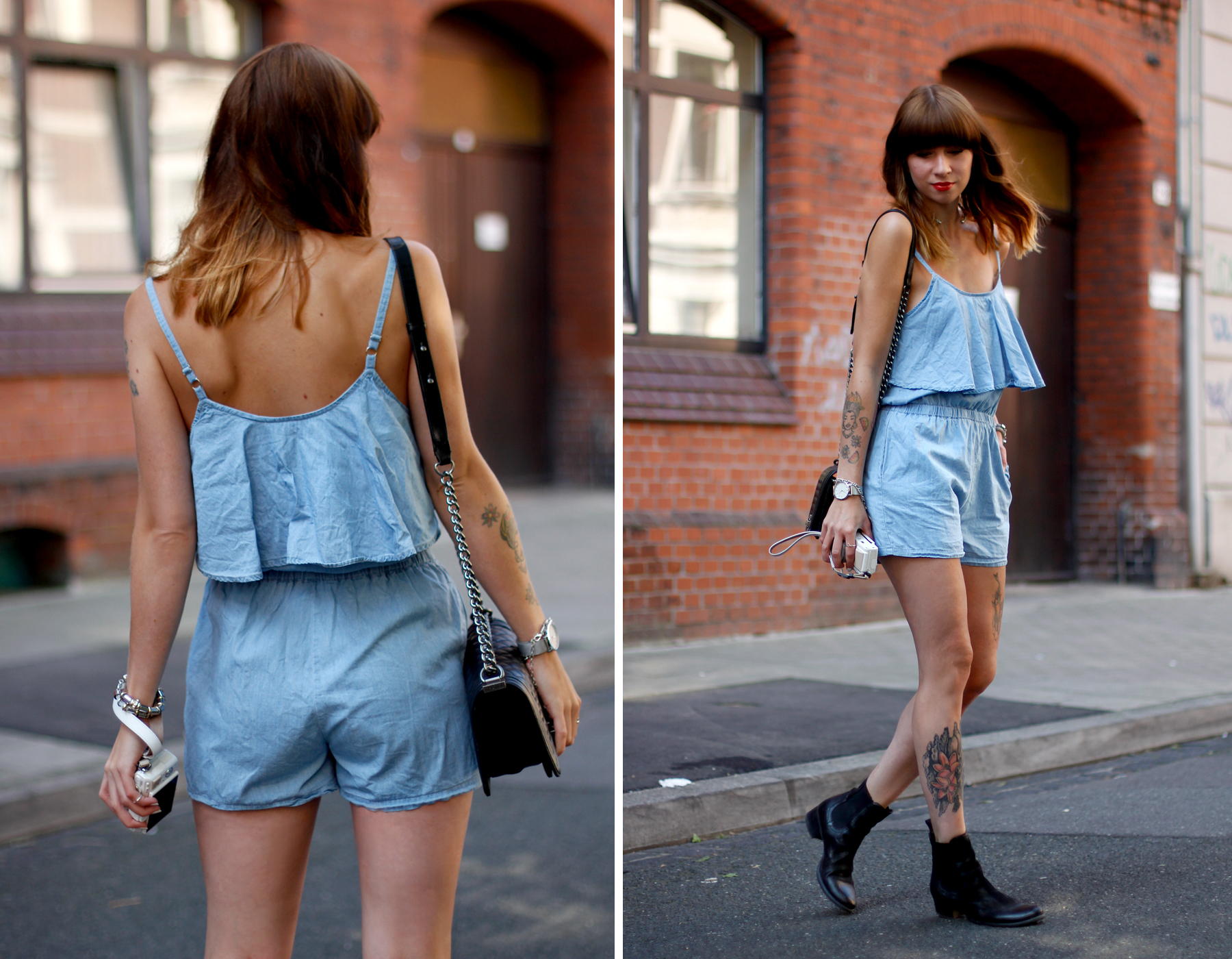 anziehend düsseldorf denim blue jumpsuit overall hellblau jeans chanel boots late summer spätsommer outfit ootd look cats & dogs ricarda schernus 6