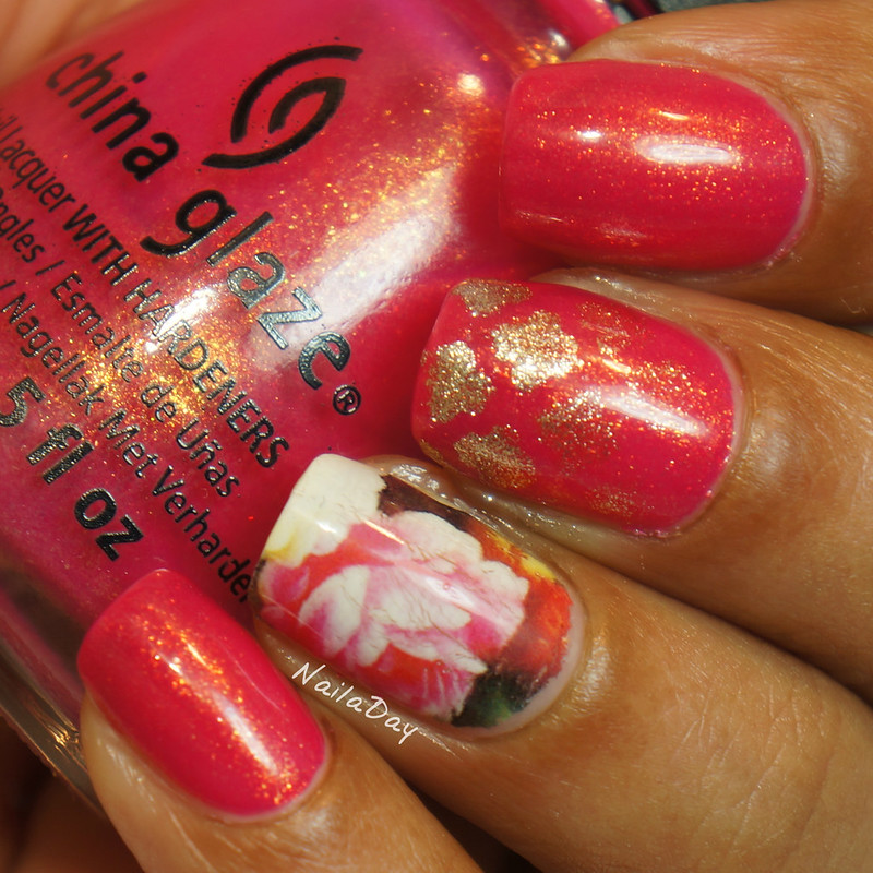 NailaDay: China Glaze Strawberry Fields with Born Pretty water decal