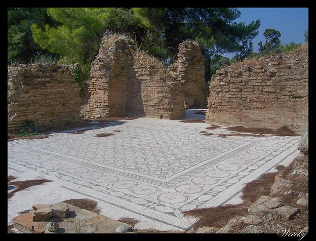 Grecia Olimpia Delfos - Mosaico de los baños termales