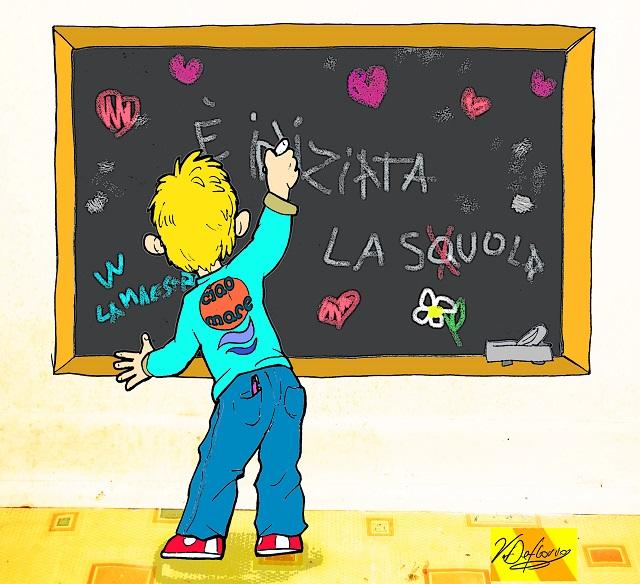 Noicattaro. Vignetta inizio scuola intero