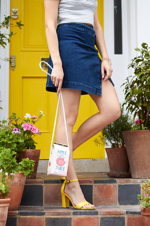 yellow door denim skirt legs