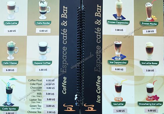11 Yangon Airport - Espace Cafe Menu