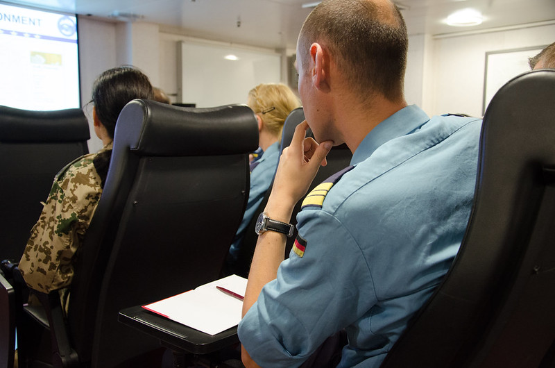 A German Auxiliary Ship Berlin delegation receive first integration briefing on board the Op. Sophia Flagship – EUNAVFOR MED