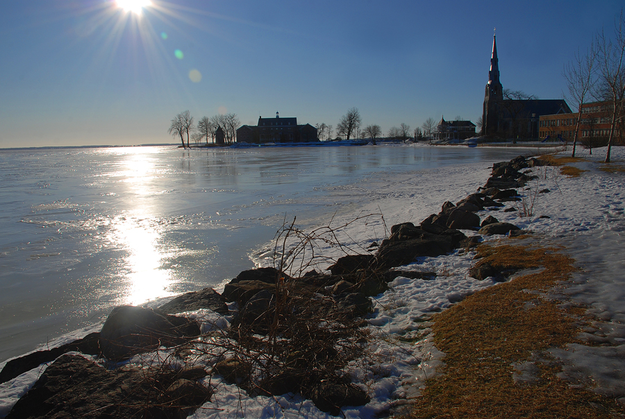 Church and Churchhouse at Pointe-Claire, February 14, 2009