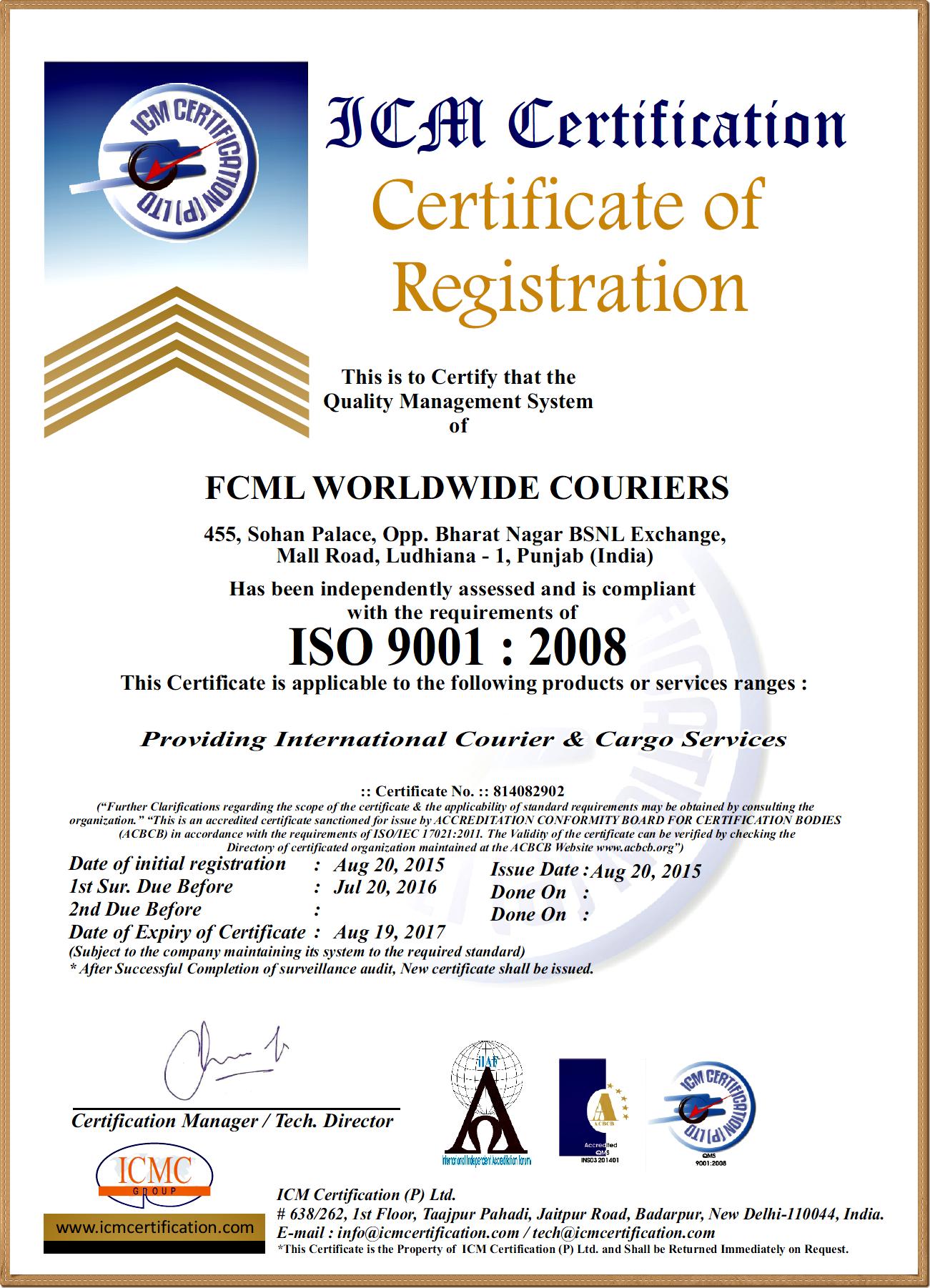 ISO FCML NEW