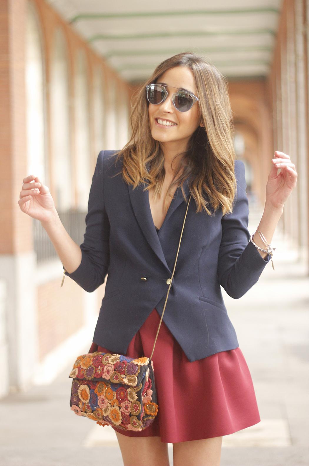 Blue Blazer Burgundy Skirt Outfit08
