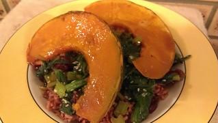Citrus-Glazed Pumpkin over Garlic Sesame Wilted Choy Sum