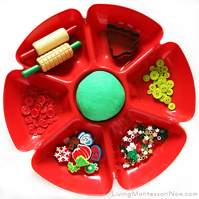 Montessori-Inspired Christmas Playdough Tray