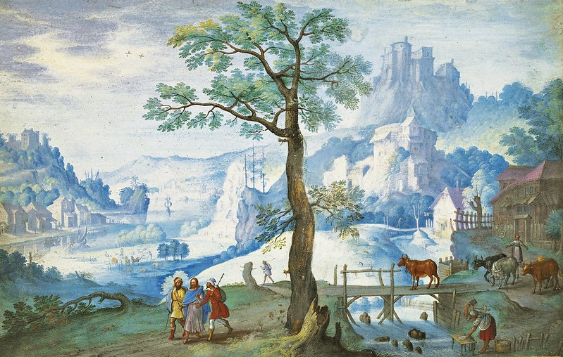 Hans Bol - Landscape with Christ on the road to Emmaus, a woman herding cattle to the right