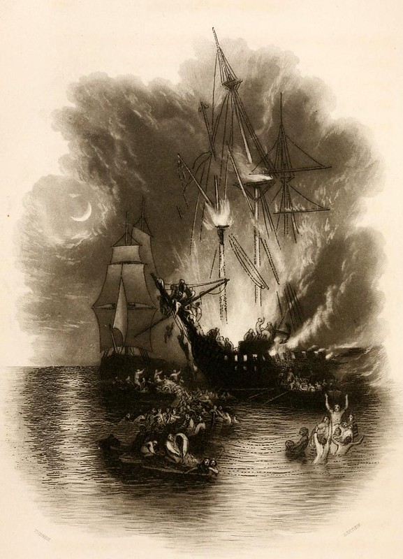 004-Fuego en el mar-Friendship's offering 1850- grabador John Sartain