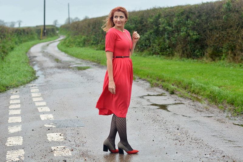 Red fit and flare dress, patterned tights
