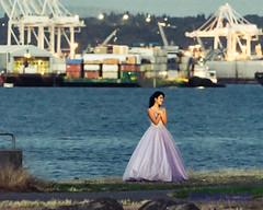 Lady Doing Bridal Posing Against Port of Seattle & Elliott Bay in