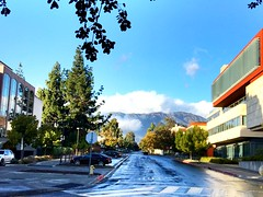 View up Columbia Ave. toward the San Gabriel Mountains.