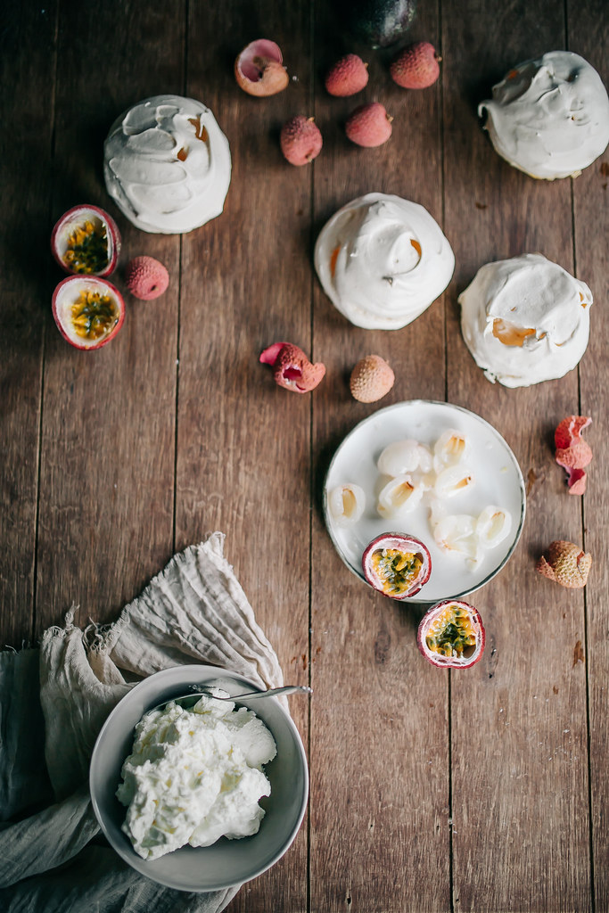 Passionfruit & Lychee Meringues