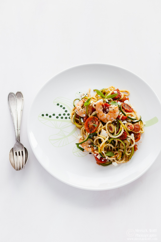 Zucchini Noodles Shrimp and Slow Roasted Tomato Sauce (0135) by Meeta K. Wolff