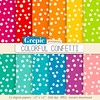 "Confetti digital paper: ""COLORFUL CONFETTI"" polkadots patterns, party dots, dotted, bright backgrounds in rainbow colors with random dots by workyourart"