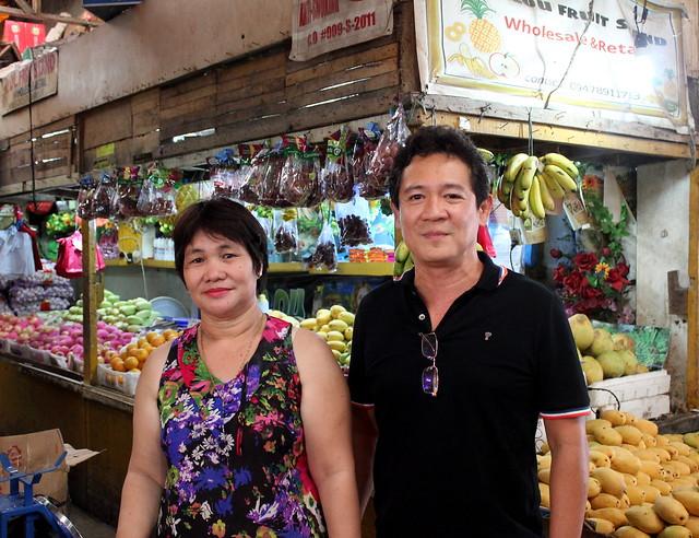 Market supervisor Rainier M. Cargando poses with vendors in the newly-rehabilitated Roxas City public market