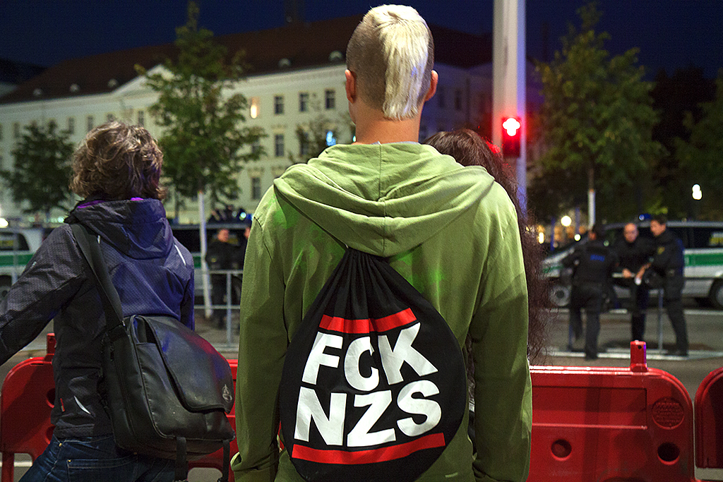 Counter demonstrator near a LEGIDA rally on 10-5-15--Leipzig
