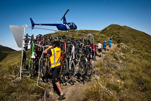 bicycles being transported on a mountian