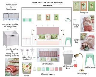 Rose Cottage Guest Bedroom bed wall design-01