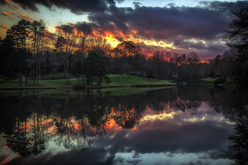 sunset lake clouds reflections december northcarolina gastonia heatherlock dorameulman