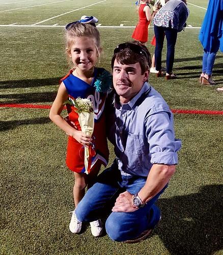 Tristan & Daddy! #cheerleading #homecoming #vestaviahillsrebels #vestaviahills #littlerebels