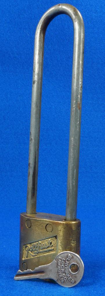 RD14743 Vintage Rollfast Bicycle Bike Lock Brass Body Long Hasp with Key Padlock DSC06263