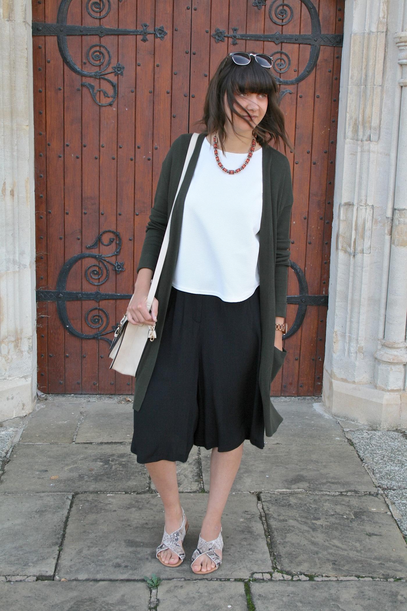 black culottes, white tshirt, snakeskin sandals