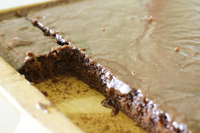 ... the fact that you've just made the best chocolate sheet cake. Ever