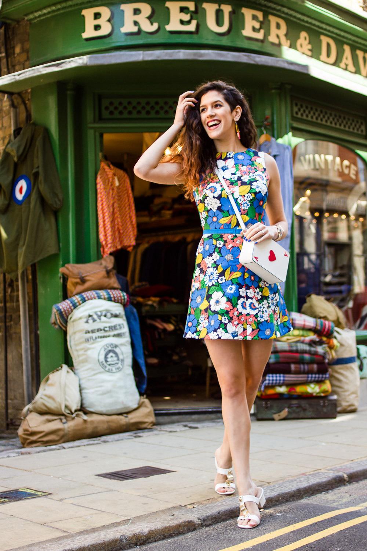 asos floral a-line dress outfit