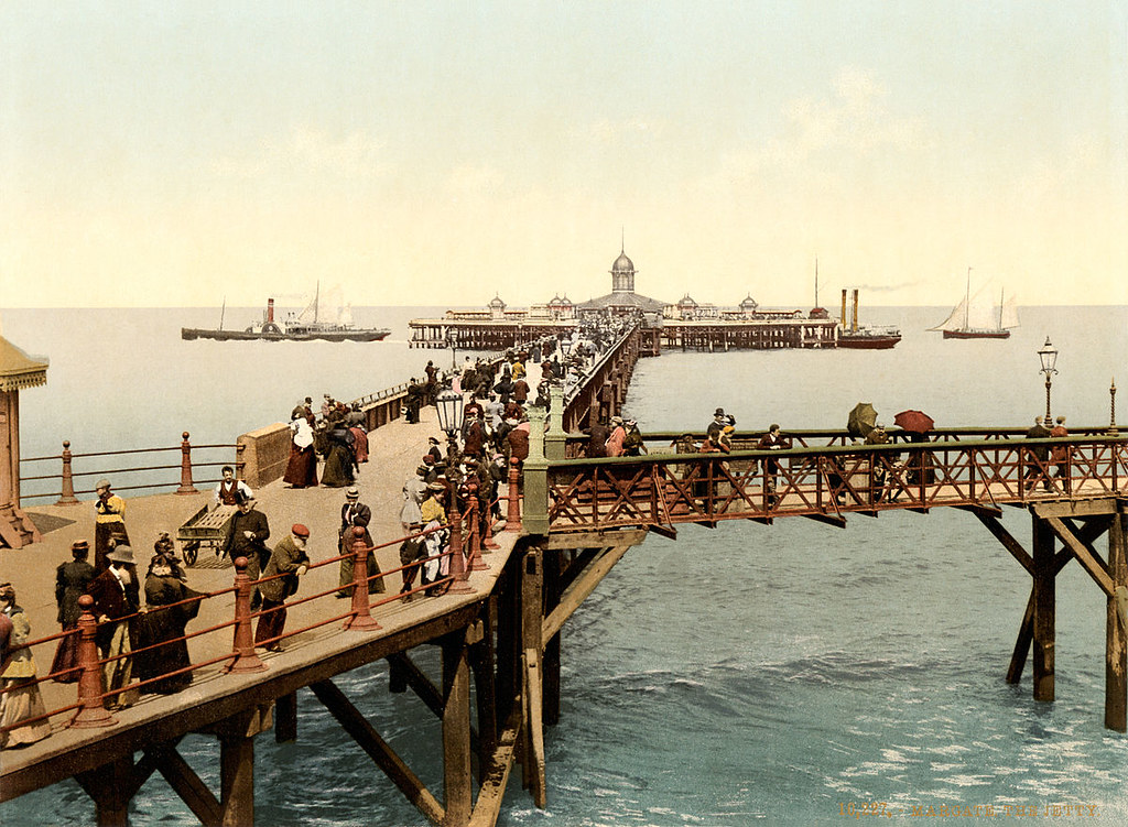 Print of Victorian pier in Margate in the English county of Kent, 1897
