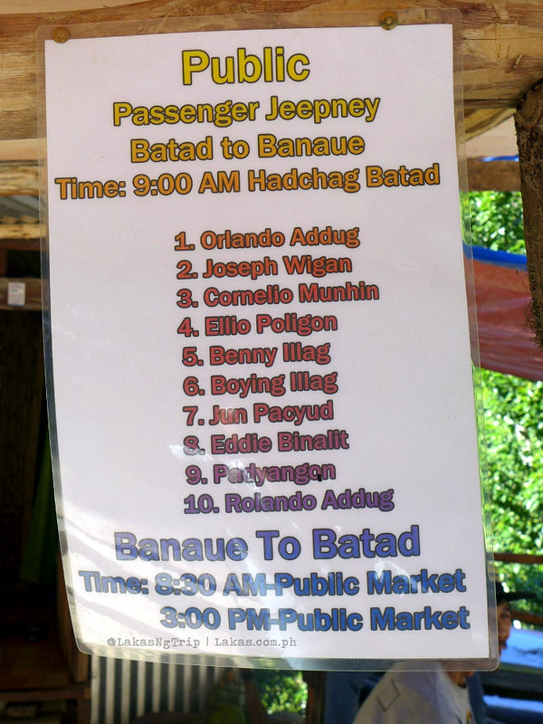 Schedule of Public Jeepney from Banaue to Batad