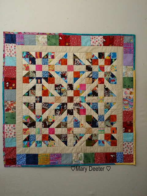 Finished the Scrap Dance quilt along. Decided to go with scrappy borders and scrappy binding.