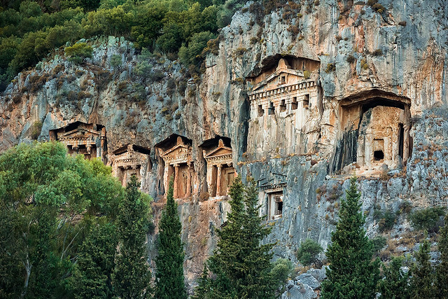 Lycian tombs in Dalyan, Turkey.
